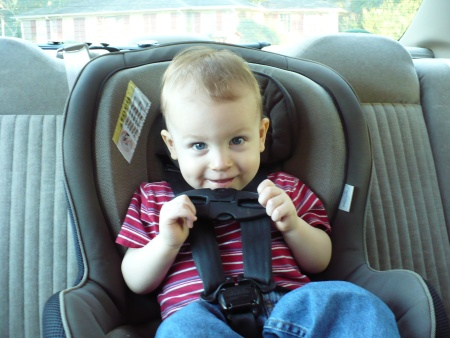 David eating his carseat