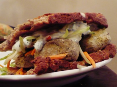 gluten free falafel on flat bread with creamy cilantro sauce recipe