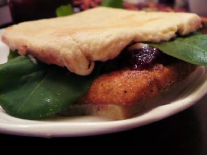 gluten free toasted turkey tofu sandwich with cranberry and arugula recipe