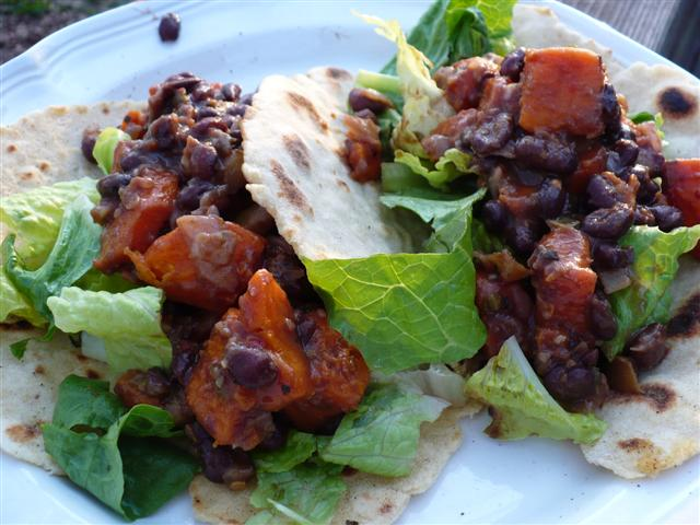 Gluten Free Black Bean Sweet Potato Soft Tacos