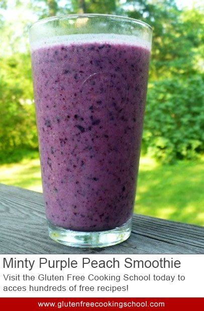 gluten free minty purple peach smoothie recipe