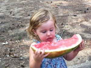 Gluten Free Cooking School - manhandling a watermelon